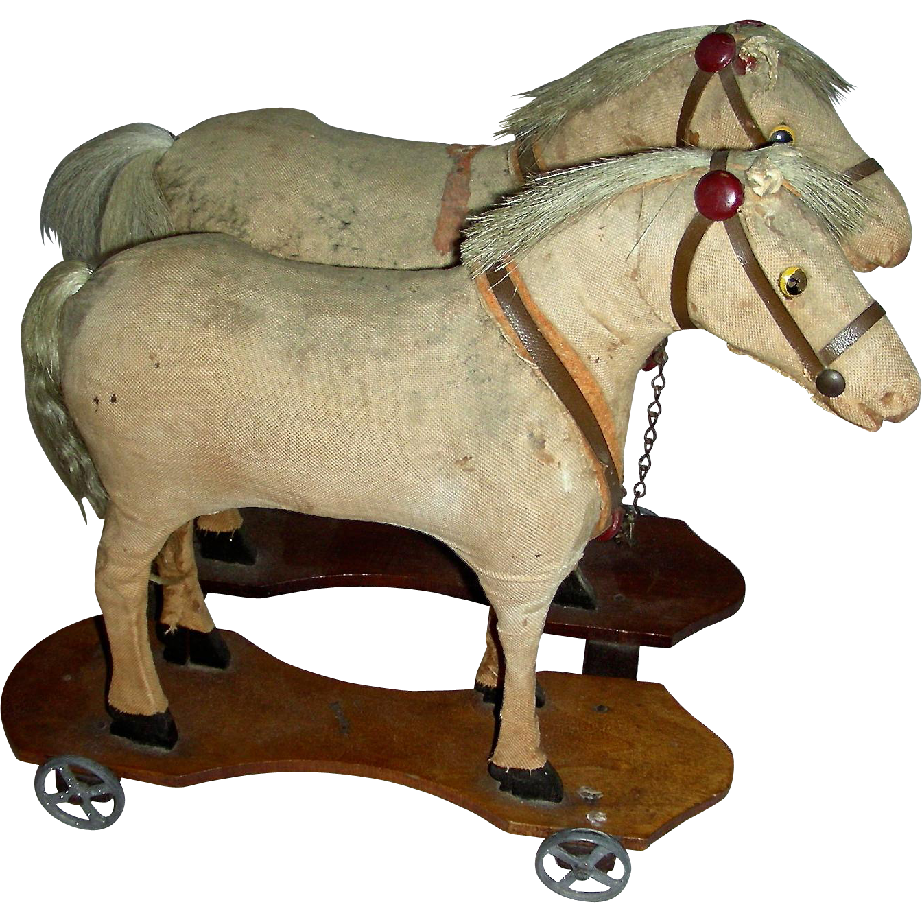 Team of 2 Velveteen Covered Horses on Wheeled Platforms, c. 1890-1900