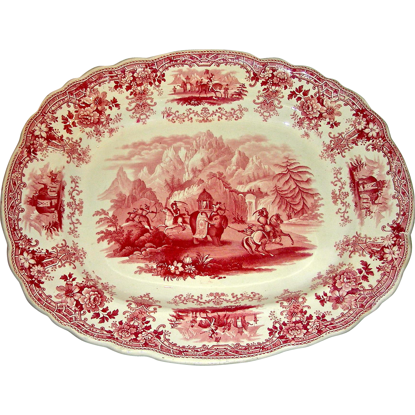 "Red Transfer Staffordshire 15"" Platter: Hannibal Passing the Alps, c. 1840"