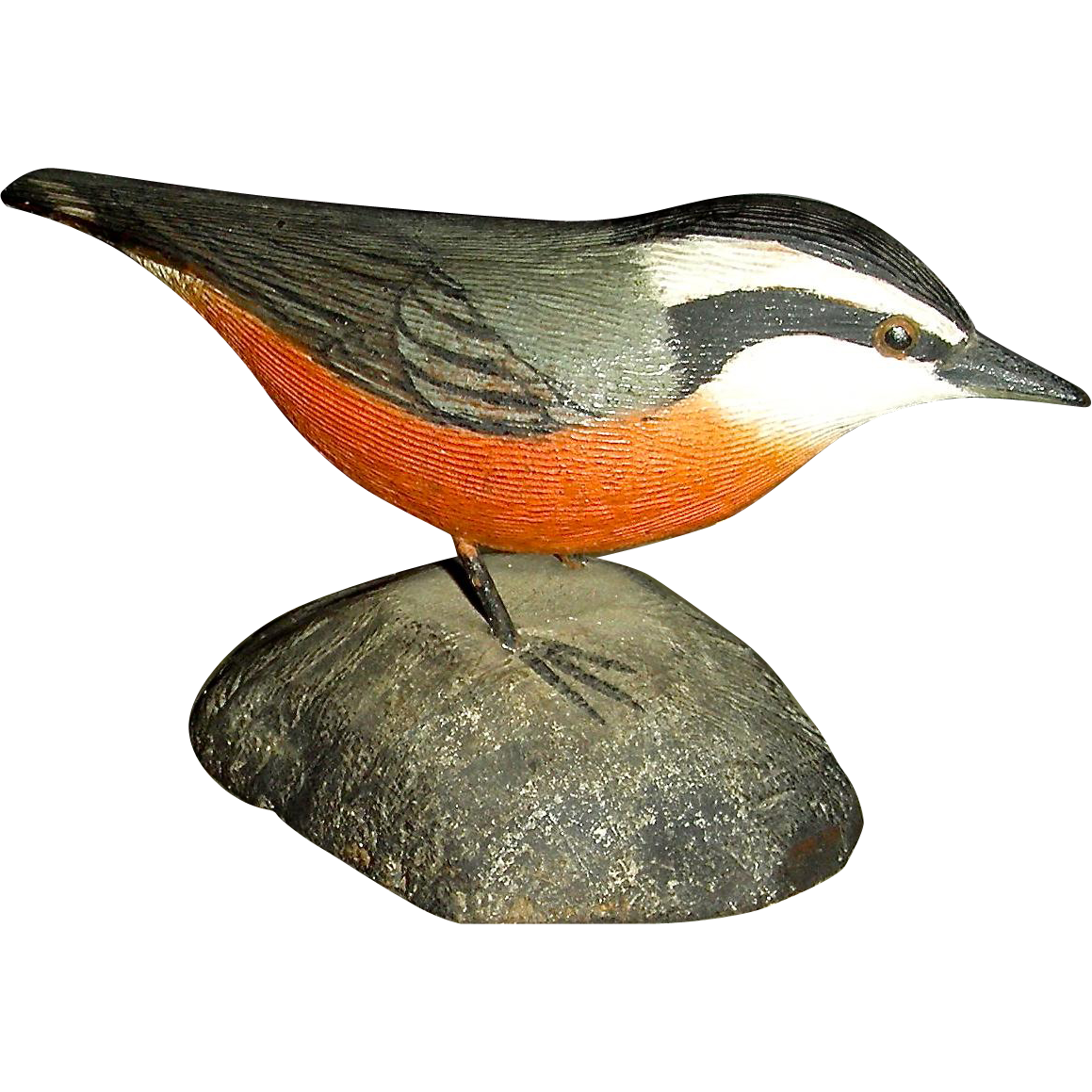 Jesse Blackstone Miniature Carved Red Breasted Nuthatch, Signed & Numbered