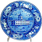 American Historical Staffordshire Plate: Court House, Baltimore, c. 1825-1830