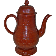 Large Engine-Turned Redware Coffee Pot, c. 1780-1800
