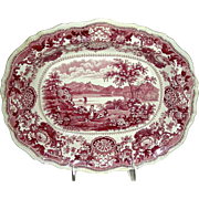 "American Historical Staffordshire Serving Dish: ""Lake George"", Red Transfer, c. 1835"