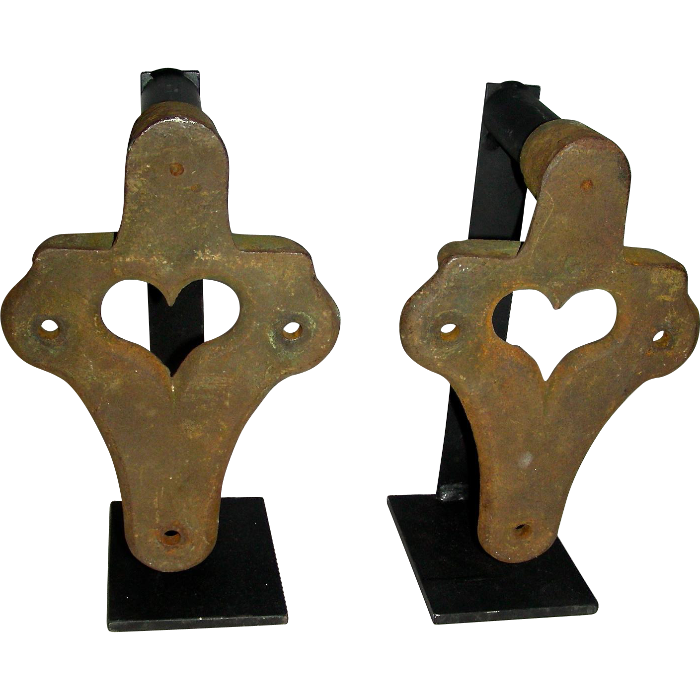 Pair of Cast Iron Heart Decorated Farm Equipment Gears on Custom Stands – Folk Art of the Machine
