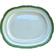 """15 ¼"""" Staffordshire Green Edge Pearlware Platter w/ Molded Feather Border, c. 1820"""