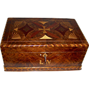 """Grain Painted, Inlaid Sewing or Document Box w/ Fan Inlays & Initials """"L.N."""", c. 1880"""