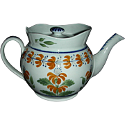 English Pearlware Teapot Decorated in Pratt Colors, c. 1810