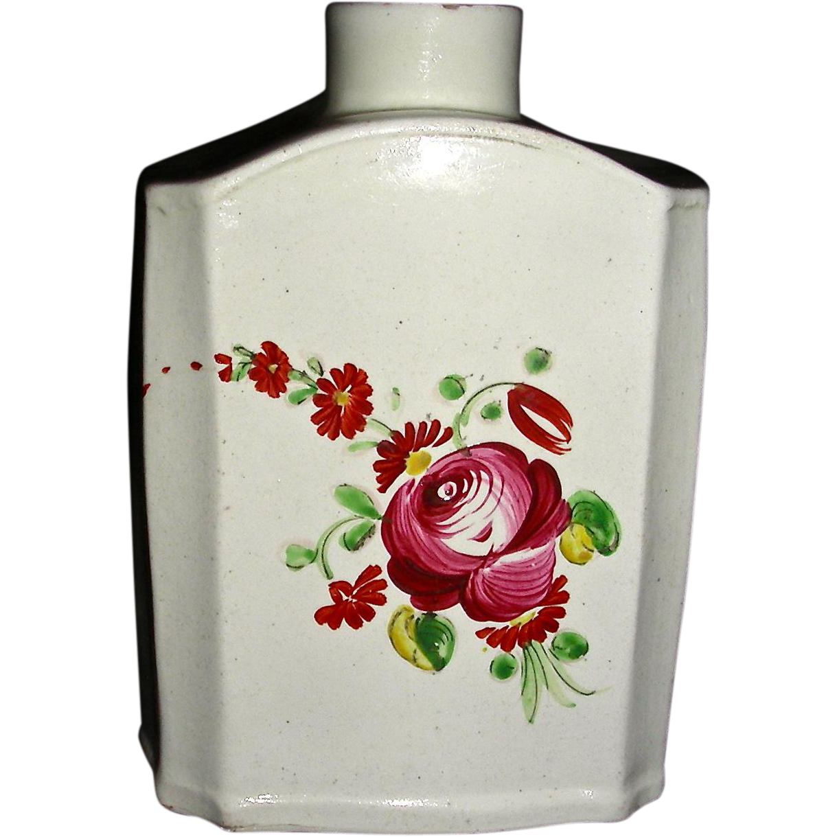 English pearlware tea canister or caddy w king s rose for Decoration or rose