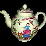 Lead Glaze Pearlware Staffordshire Teapot w/ Chinoiserie Decoration, c. 1795