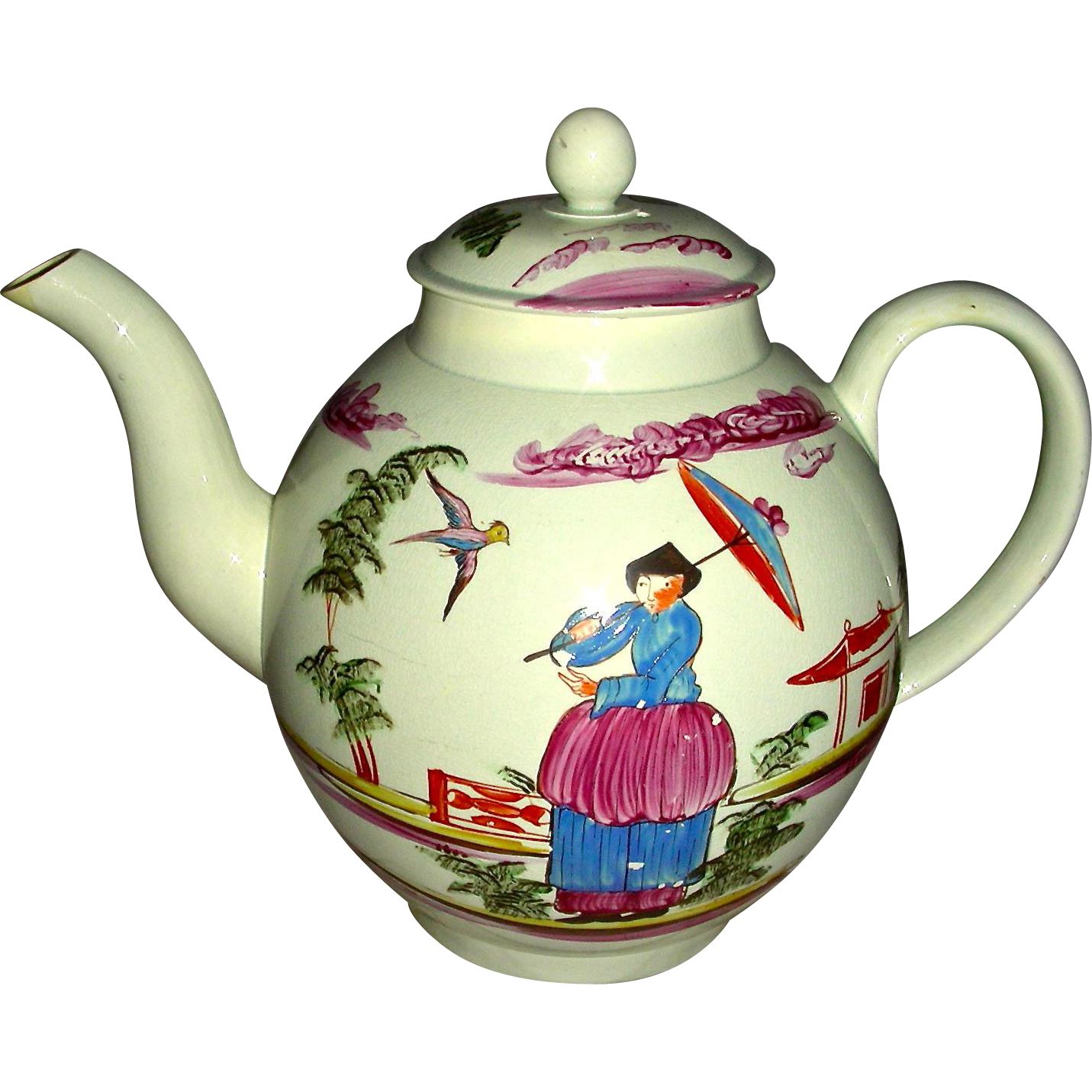 Lead Glaze Pearlware Staffordshire Teapot w/ Chinoiserie Decoration, c. 1795