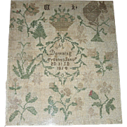 1814 American Quaker Sampler by M Downing, Trenton, NJ w/ Squirrel