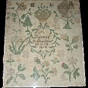 1814 American Quaker Sampler by M Downing, Trenton, NJ w/ Squirrel