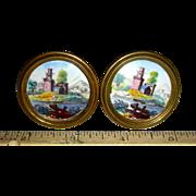 Pair of Battersea Enamel Mirror Knobs or Rests, c. 1800