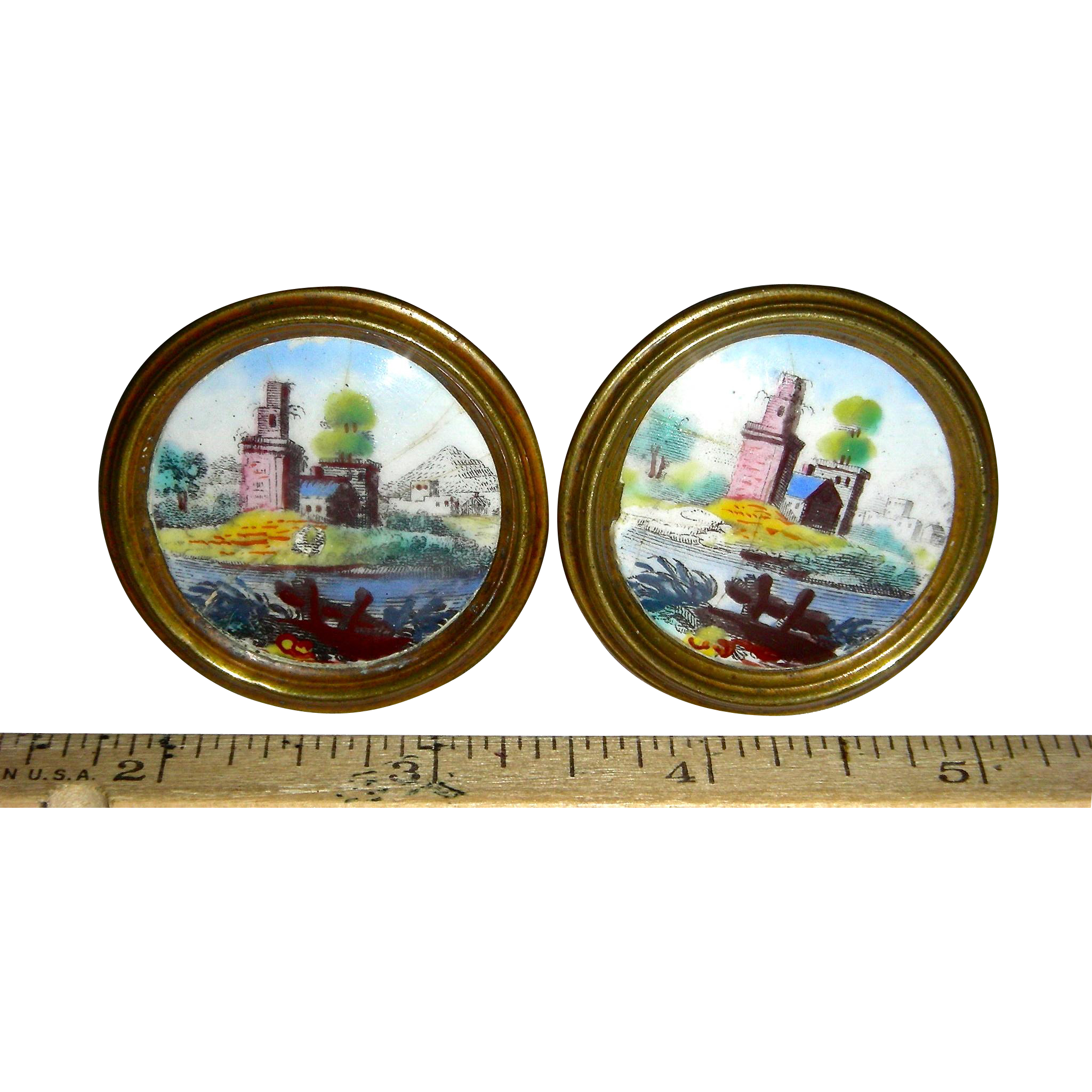 Pair of Battersea Enamel Mirror Knobs or Rests, c. 1800