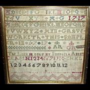 1717 English Needlework Sampler by Ann Grave