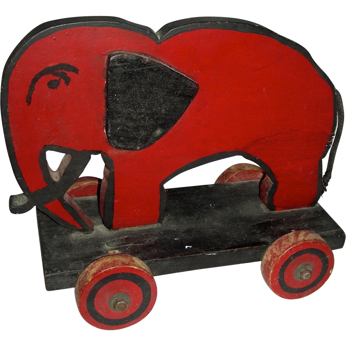Wooden Elephant Pull Toy w/ Applied Ears & a Scowl, 1950s