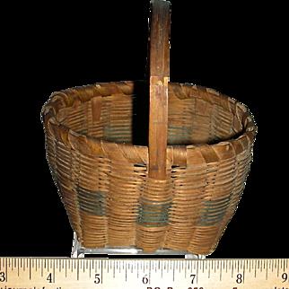 "Miniature Signed Splint Handled Basket, 4"" Diameter"