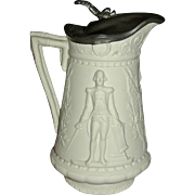 Mid-19th Century Patriotic Parian Jug w/ Molded Decoration: Washington & American Flag