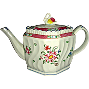Colorful Staffordshire Pearlware Swirl-Body Teapot w/ Floral Decoration and Swan Finial, c. 1820