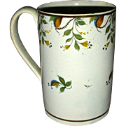 Tall English Pearlware Mug or Tankard with Underglaze Pratt Decoration, c. 1820