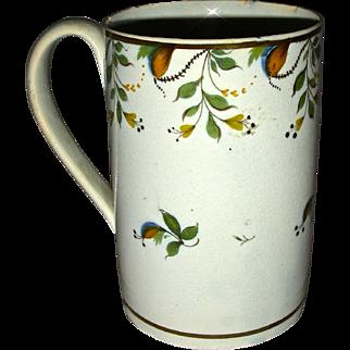Tall English Pearlware Mug or Tankard with Underglaze Pratt Decoration, c. 1820