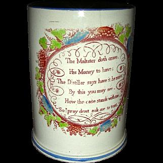 "English Pearlware Tankard w/ Pub Motto ""No Credit"" c. 1820"