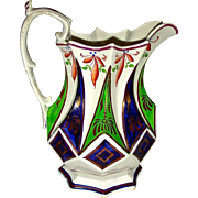 "8"" English Gaudy Ironstone Molded Jug w/ Luster Trim and Vibrant Colors, c. 1840"