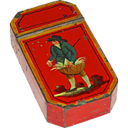 RED Toleware (Tin) Decorated Snuff Box, c. 1840