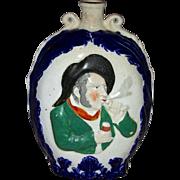 Large English Prattware Flask w/ Molded Decoration, 19th Century