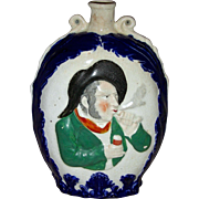 Large English Prattware Flask w/ Molded Decoration, 19th Century