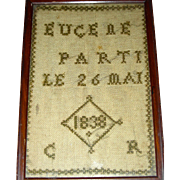 Miniature French Needlework Memorial Sampler Dated 1838
