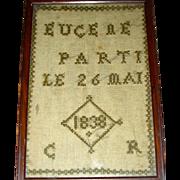 Miniature French Needlework Memorial Sampler Dated 1838