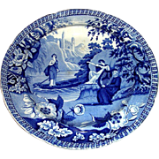 "Blue Staffordshire Dinner Plate: ""Lady of the Lake"" c. 1830"