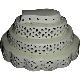 Tiered & Pierced English Creamware Curd Mold (Mould), c. 1790