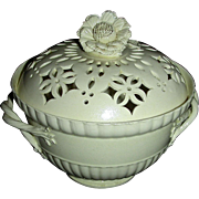 Extremely Delicate English Creamware Bowl w/ Pierced Lid and Flower Finial, c. 1800