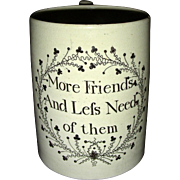 English Creamware Motto Mug, c. 1800-1810