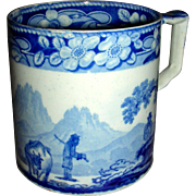 "Large Blue & White Staffordshire Mug: ""The Cowman"", c. 1830"
