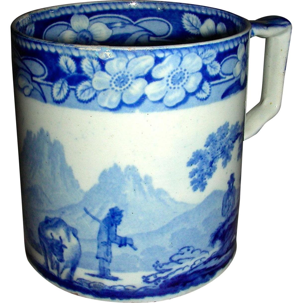 "Large Blue & White Staffordshire Mug: ""The Cowman"", c. 1830"