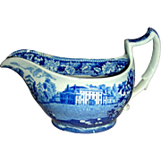 Blue & White Staffordshire Transferware Gravy: Sproughton Chantry, Suffolk, Grapevine Border Series