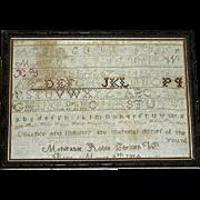 VERMONT Needlework Sampler Fragment by Mahitable Roble, Corinth, c. 1824