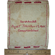 Miniature Red Practice or Work Sampler by Sarah Ann Hill, Osmaston School, 1866