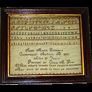 Sarah Maria Palmer's Needlework Sampler, Canterbury CT, 1830