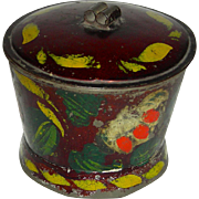 Decorated Toleware (Tin) Sugar Bowl w/ Lid, c. 1860