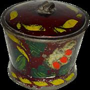 Decorated Toleware (Tin) Sugar Bowl w/ Lid, c. 1860