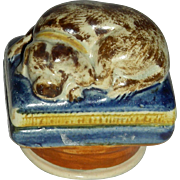 Decorated Prattware Snuff or Pill Box w/ Dog & Screw-on Lid, c. 1820