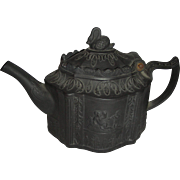 Black Basalt English Teapot w/ Molded Classical Decoration & Swan Finial, c. 1780