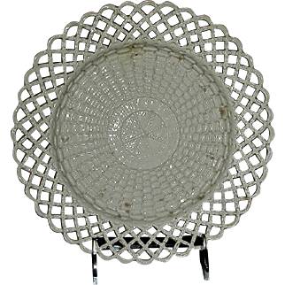 English Salt Glaze Plate w/ Reticulated Edge and Molded Decoration on Bowl, c. 1770