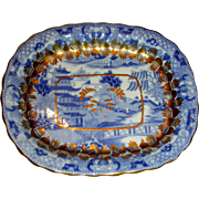 "English Porcelain Teapot Tray: Chinoiserie Pattern ""Broseley"" or ""Two Temples II"" w/ Extensive Gold Highlights"