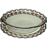"c. 1800 English Creamware Basket & Tray: ""Feather & Ribbon"" Pattern"