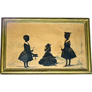 Painted Full Length Silhouette of 3 Children, Early 19th Century