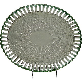 Leeds Pottery Green Edged Pearlware Reticulated Tray or Platter, England, c. 1800